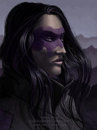Vivian Purple Portrait Print | Original Art Print | 9x12inch Art Print