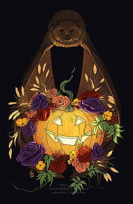Halloween Bat | 11x17inch art print | Pumpkin | Flowers