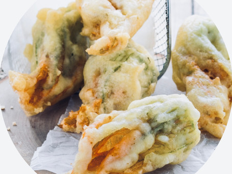 Fried Zucchini Flowers with Ricotta Cheese