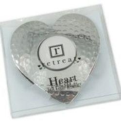 Heart Dimpled Tea Light Holder Silver