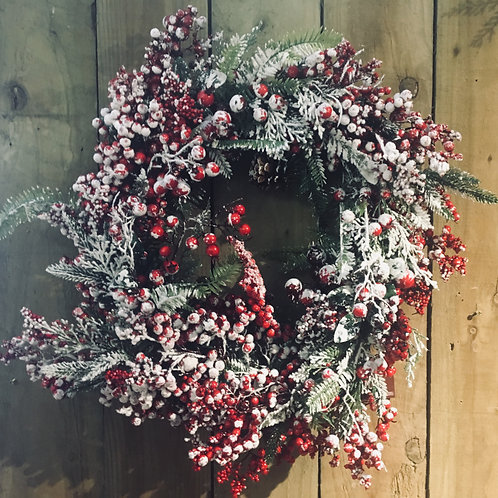 Snowy Red Berry Wreath