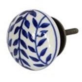 Door Knob - Ceramic Navy Leaves