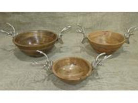 Large Wooden Bowl W/Stag Heads