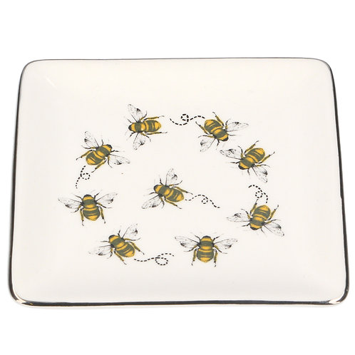Ceramic Dish - Bees with Silver Edge