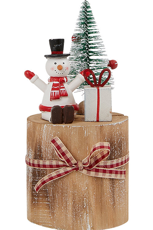 Sitting Snowman on a Wooden Post