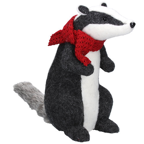 Wool Mix Badger with Scarf Ornament