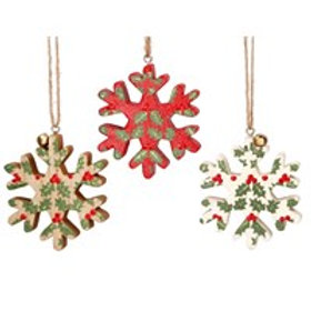 Woodland Dec - Snowflake with Holly (x1)