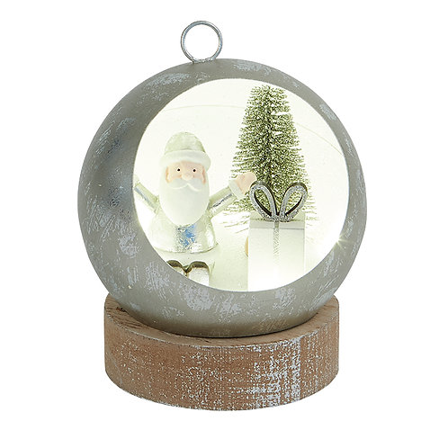 Small Silver Led Bauble Santa Scene
