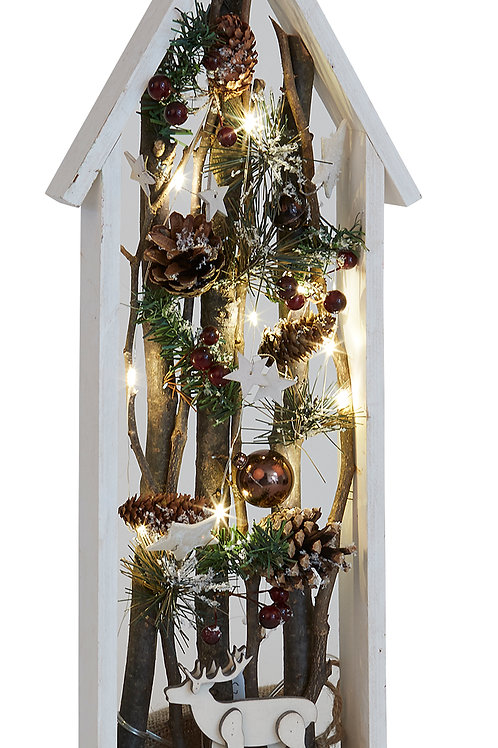 Tall Wooden LED house with PineCones