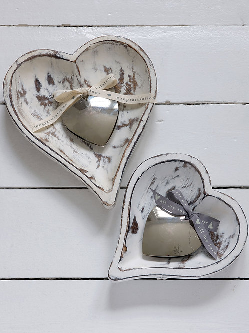 Set of Two Wooden Heart Shaped Trays -  Distressed White