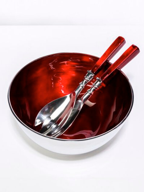 Recycled Red Aluminum Salad Bowl