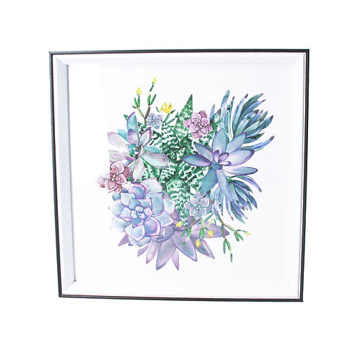 Succulent Mix Framed Print, Square