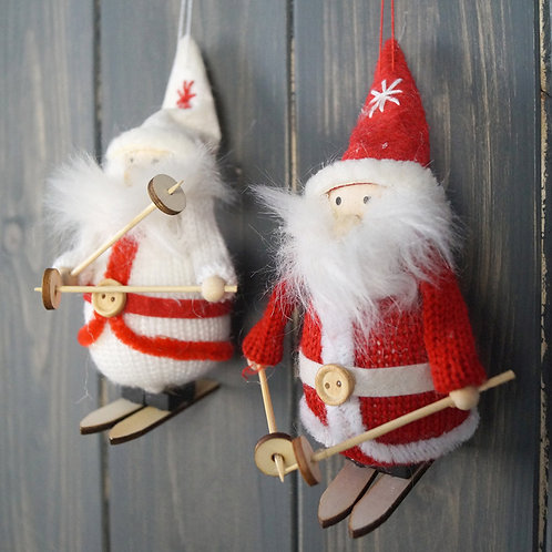 Set of Two Santa's on Skis