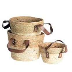 Seagrass Baskets Round with Handle TwoTone S/3