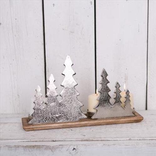 Aluminium Tree Candle Holder on Wooden Base