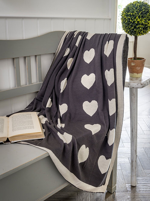 Charcoal with Ivory Hearts Throw