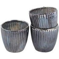 Ribbed Beaker Votive Large Antique Silver