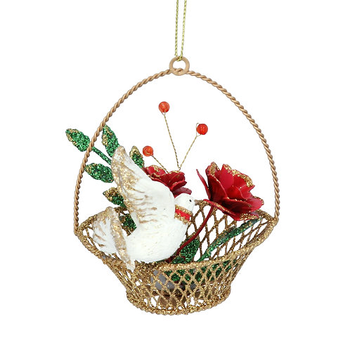 Hanging Tree decoration - Dove in gold Basket