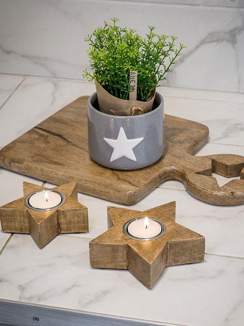 Set of Two Natural Star Tea Light