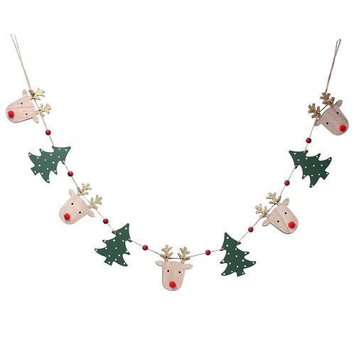 Wooden Reindeer and Christmas Tree Garland