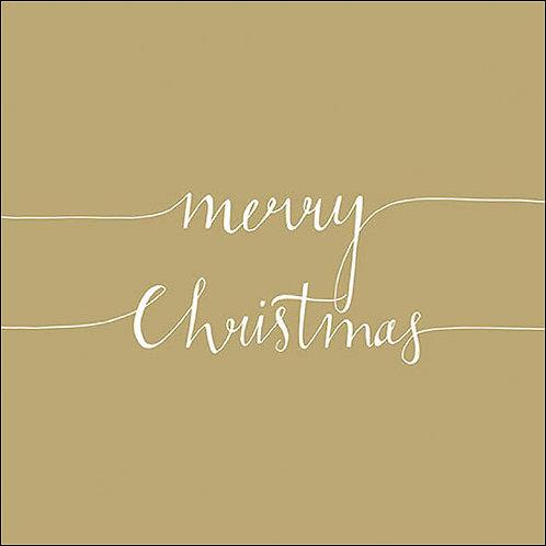 Merry Christmas Napkin Gold