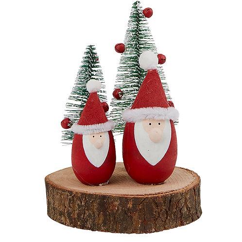 Santa's & Tree's on a log