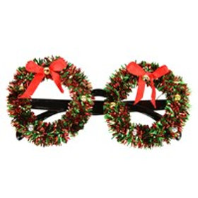Wreath novelty glasses with tinsel & ribbon