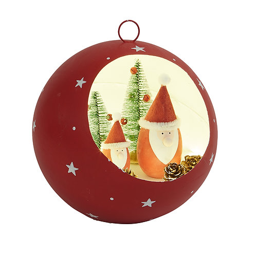 Large Red Led Bauble with Santa Scene