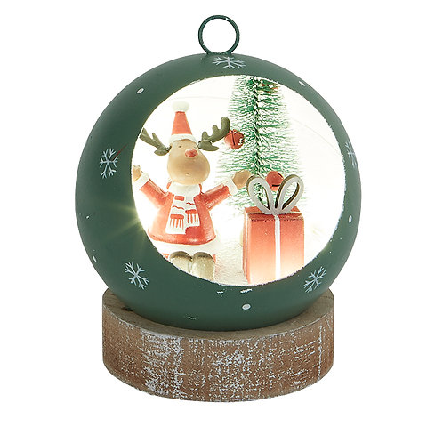 Small Green Led Bauble with Reindeer Scene