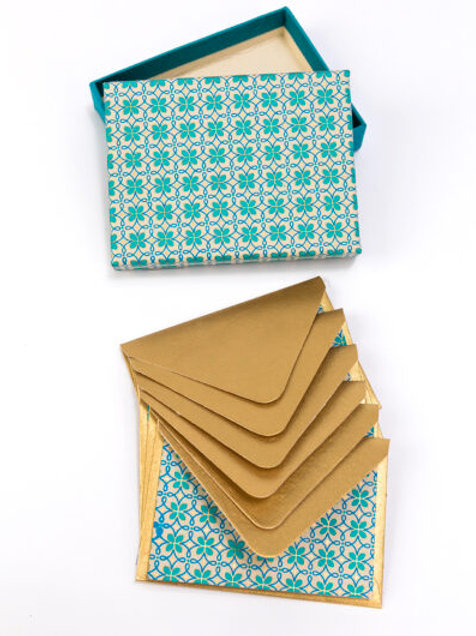 Turquoise  Motif Note Cards