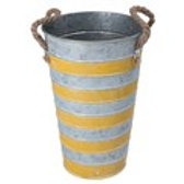 Tin Flower pot - Yellow Stripes