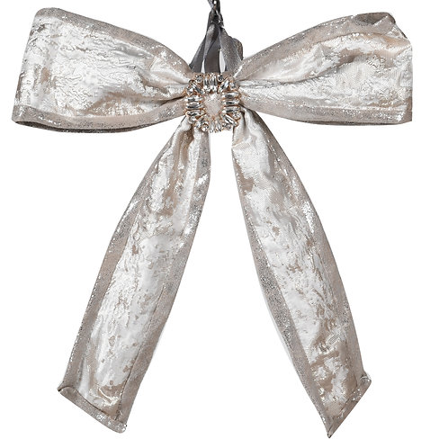 Silver Fabric Bow