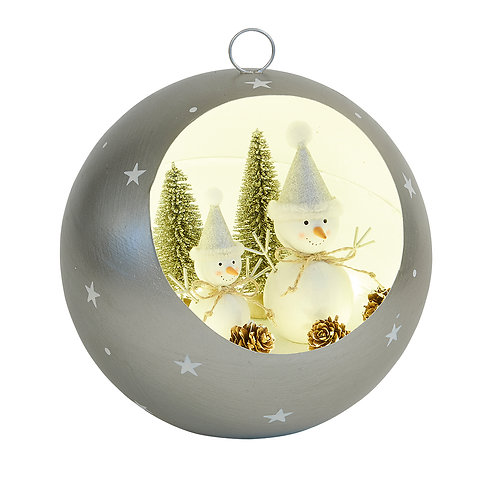 Large Silver Led Bauble with Snowman Scene