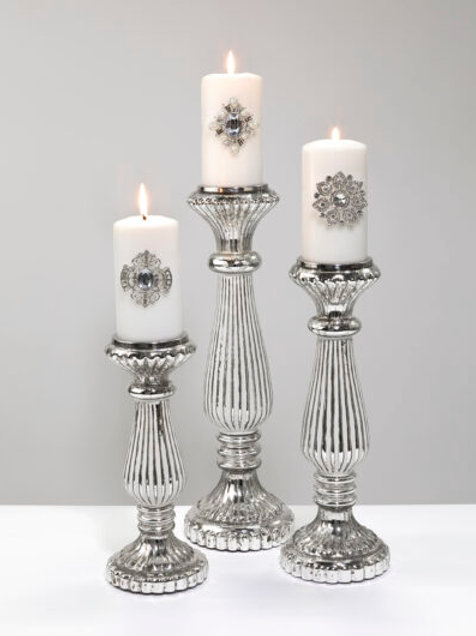 Large Silver/White Candle Holder