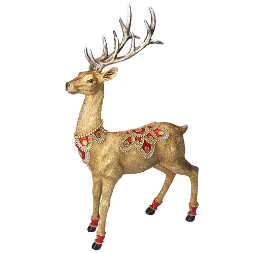 Gold Stag with Red/Gold Jewel Ornament
