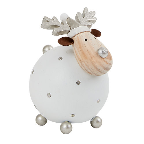 Large white White & Silver Reindeer Decoration