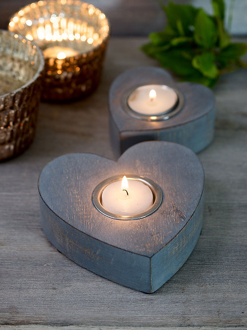 Grey Wooden Tea Light Holders - Set of 2