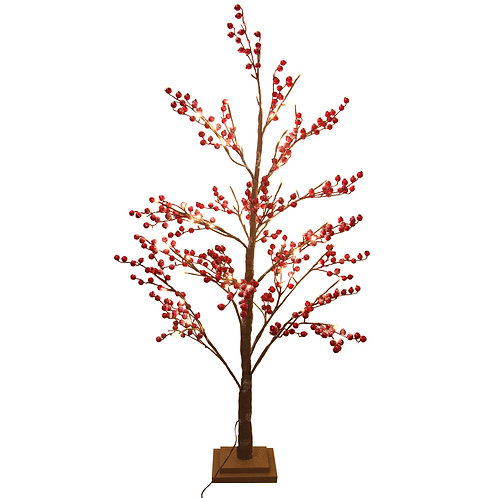Red Berry/Twig Tree with Lights