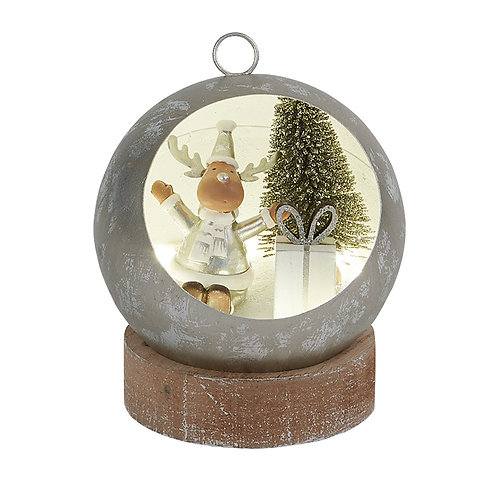 Small Led Bauble with Reindeer Scene