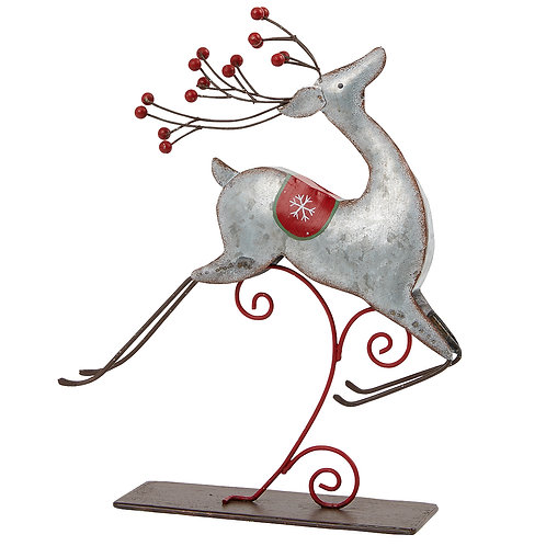 Galvanised Leaping Reindeer