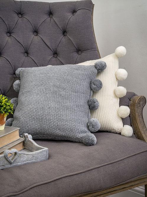 Light Grey Pom Pom CushionCover