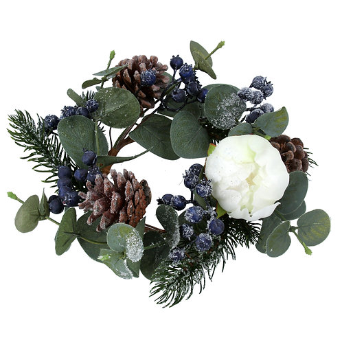 Eucalyptus, Fir & Blueberry Candle Ring - Large