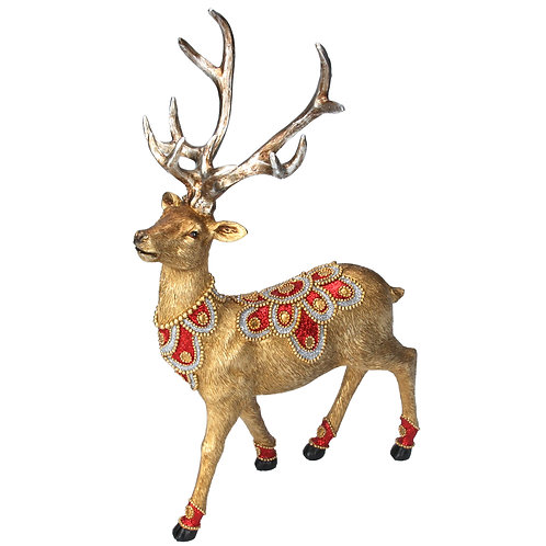 Gold Stag with Red/Gold Jewels Ornament