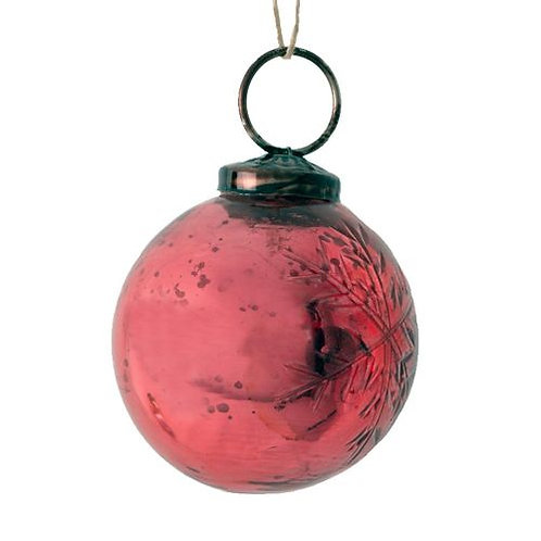 Red Snowflake Bauble Decoration - Small