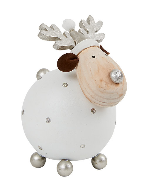 Small WhiteAnd Silver Reindeer Ball Decoration