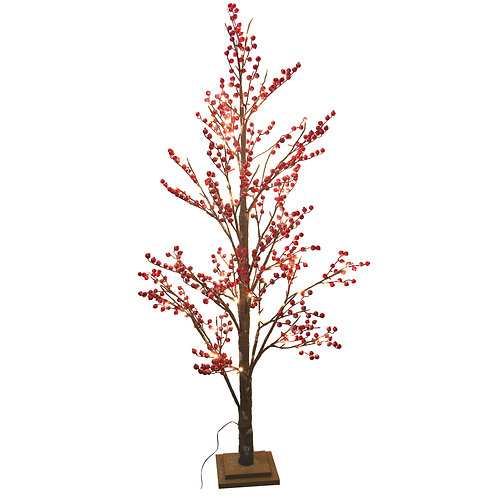 Tall Red Berry/Twig Tree with Lights