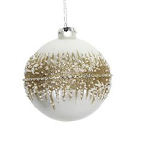 Cream bauble with gold sparkle embellishment