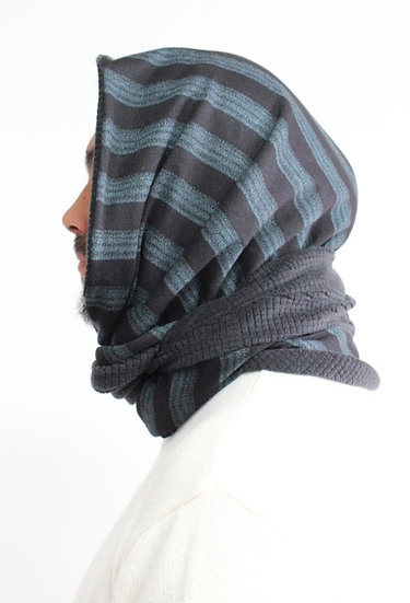 DOTTIE Hood in Blue-Green and Black Stripe