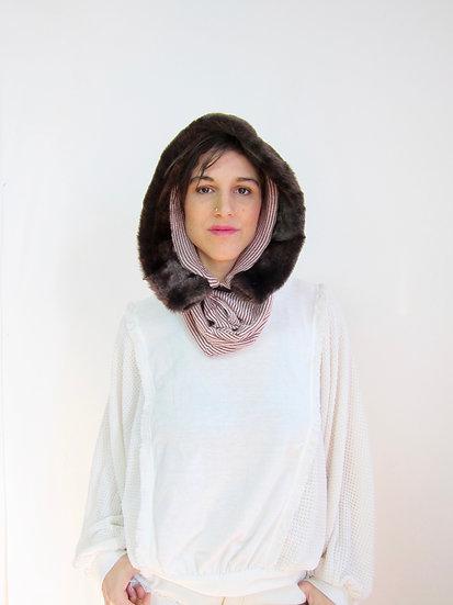 LENA (short hood) Maroon and White Stripe