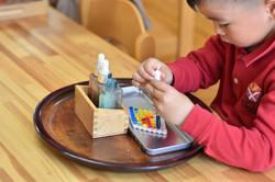 We use Montessori materials